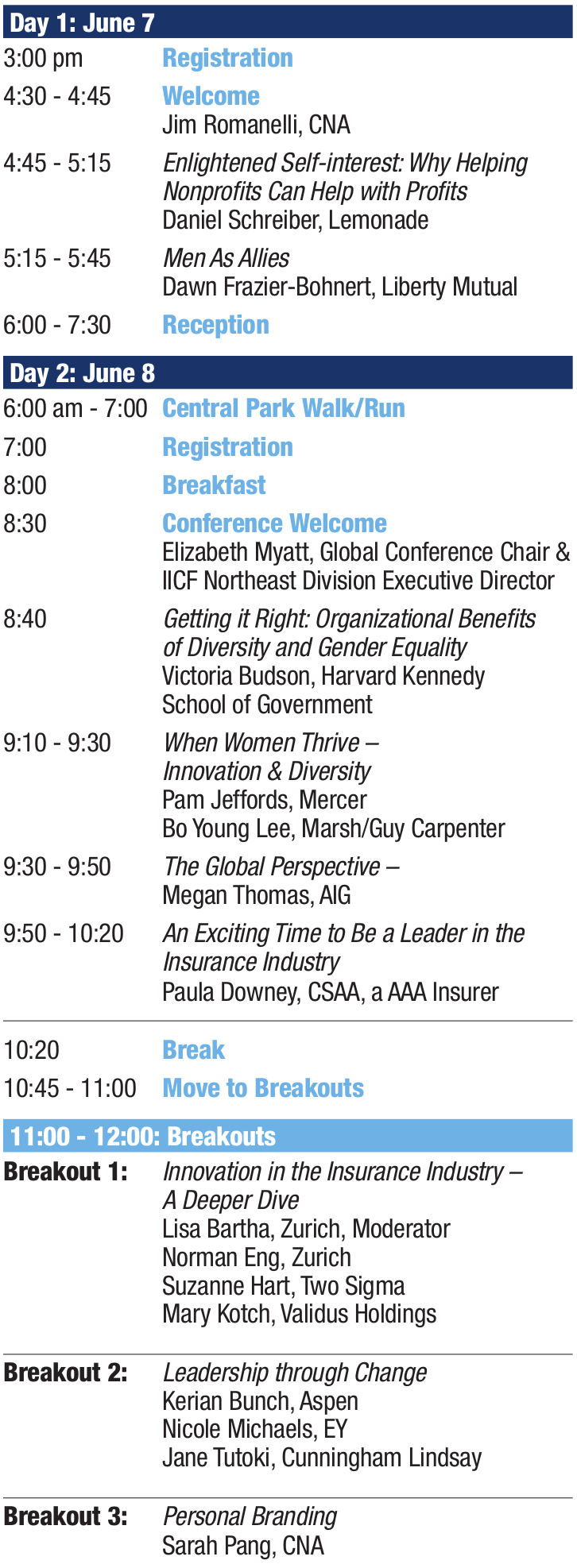Conference Agenda IICF Women in Insurance Global Conference