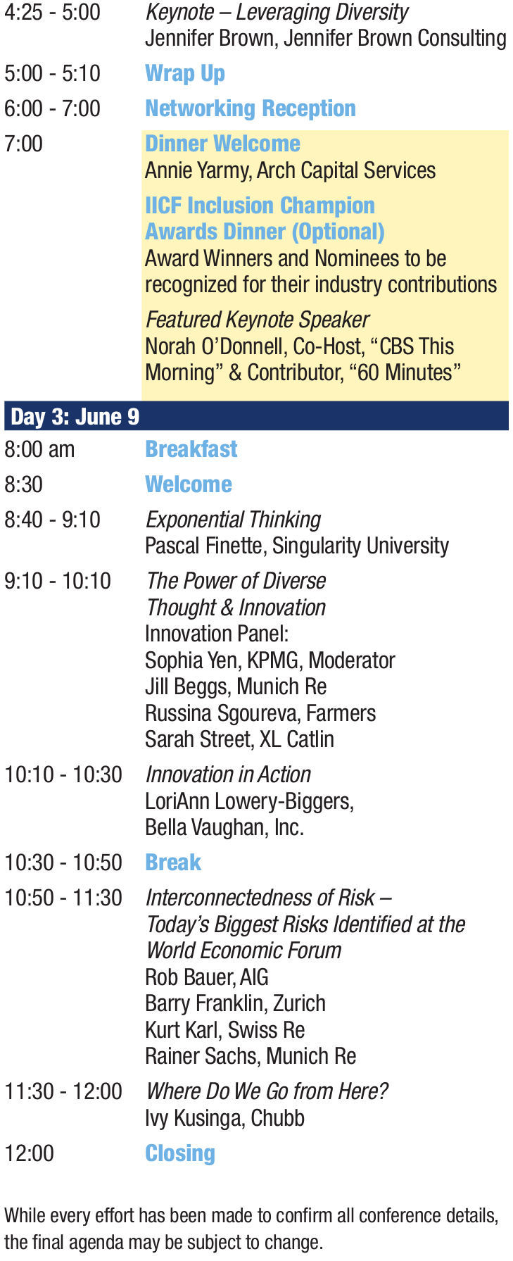 Conference Agenda IICF Women in Insurance Global Conference2
